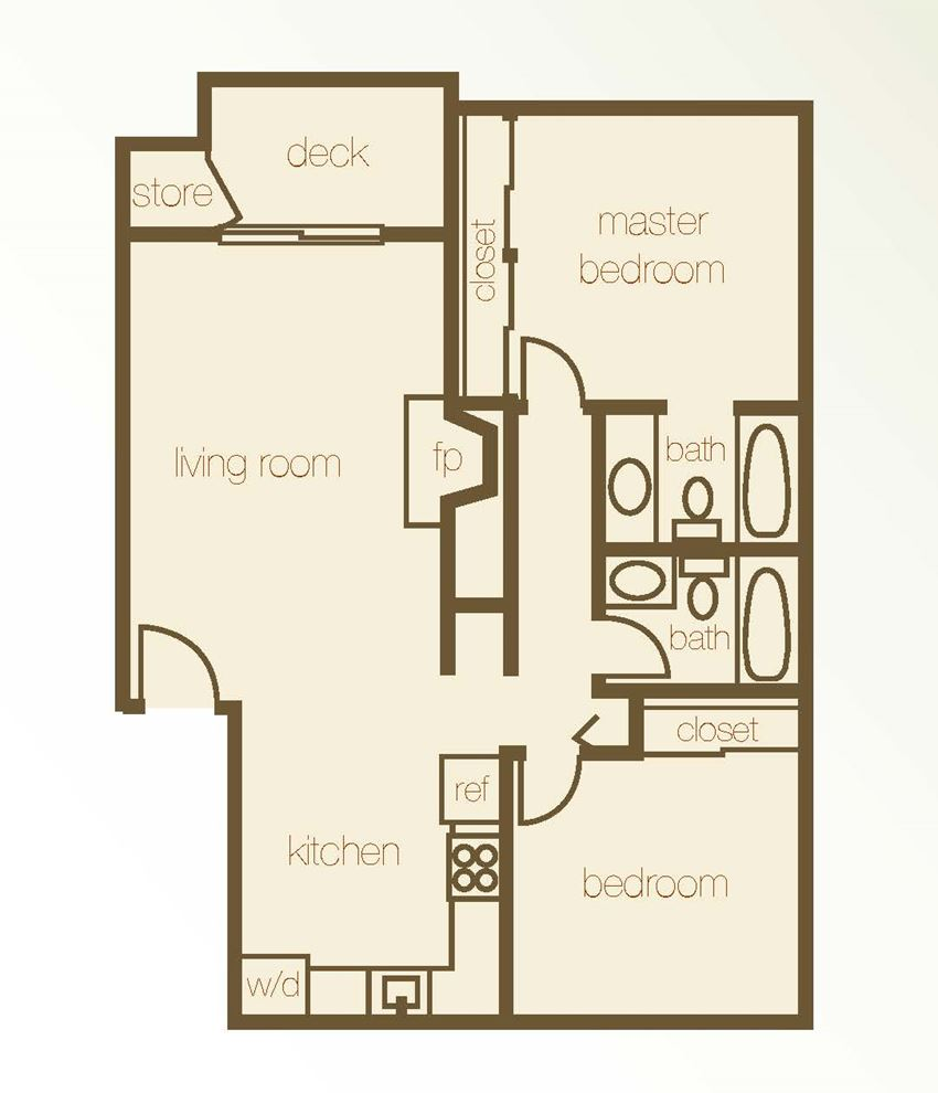 Floor Plan 2 Bdr 2 Bth